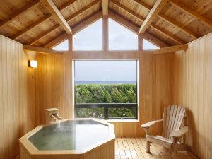 新貸切風呂『晴雨』縦に長い窓から見える景色はまるで一枚の絵画のよう。