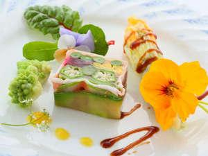 ハーブの宿 檪(kunugi):【アジアンフレンチディナー】新鮮野菜のゼリー寄せ ~Kunugi's Kitchen Gardenより~