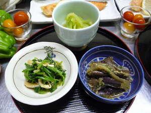 民宿東洋:夕食・前菜の一例 (時季のお野菜)