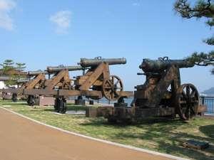 【みもすそ川公園】長州藩製「長州砲」のレプリカが関門海峡に並んでいます(車で10分)