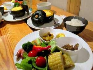 塩狩ヒュッテ:通常メニューの夕食は野菜たっぷり家庭料理です。