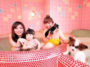 ペット同室宿泊パイオニアの宿 きぬ川国際ホテル:家族みんなで貸し切り風呂♪
