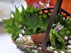 上林温泉 塵表閣本店(じんぴょうかくほんてん):「ニジマスの蕎麦の実揚げ」。女将てづくり料理自慢の一品です!