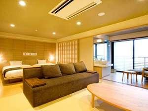 別府温泉竹と椿のお宿花べっぷ:特別室「九重」広々とした和洋室にマッサージチェア、大型テレビを完備