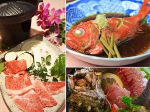 愛犬の宿 ラブリーワンズ:丸ごと1本金目鯛の姿煮と伊豆牛の陶板焼き(2017年1月15日より)