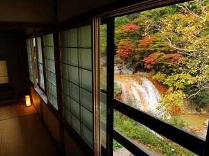 渓流絶景の宿 滑川温泉 福島屋 :【8畳客室から眺める紅葉の景色】ダイナミックな滝や、赤や黄色に染められた木々にうっとり