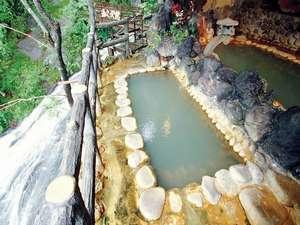 赤城温泉 花の宿 湯之沢館:露天風呂。脇を滝が流れ落ち、赤城の山々を望む。新緑から紅葉、雪景色までにごり湯に浸かりながら・・・