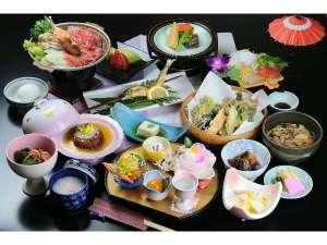 赤城温泉 花の宿 湯之沢館:夕食「会席料理」の一例、地の物や山の幸を中心に、季節の恵みを。(季節・料金・プランにより異なります)