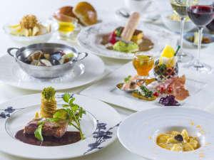 【夕食イメージ】イタリアンテイストと地元の旬菜を織り交ぜた洋食コース料理を。
