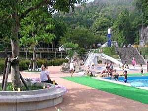 河川の水を、墨でろ過した、安全なプールは無料で開放!