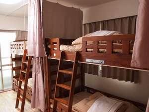 Hiroshima Hana Hostel (広島花宿):【男女共同ドミトリー/4人部屋】・無線、有線LAN接続いずれも可・カーテン・ベッドライト付き