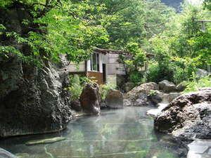 湯治(自炊)の宿 松川渓谷温泉 滝の湯:大野天風呂は混浴のため、女性はバスタオル着用となります。バスタオルのご用意をお忘れなく!