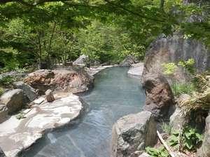 湯治(自炊)の宿 松川渓谷温泉 滝の湯:新緑の大野天風呂