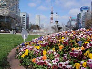 ホテルブーゲンビリア札幌(旧イーホテル札幌):大通公園、芝生で日向ぼっこをする方も(^^)