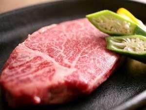 飛騨牛ヒレステーキはお肉本来の旨みを堪能できるよう、塩コショウでいただきます(一例).