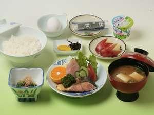 ビジネス金子ホテル:朝食(和食)例です。バイキング方式ではなくセットでご提供致します。