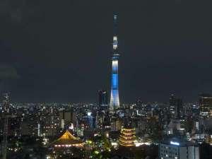 浅草ビューホテル:ホテルから見た東京スカイツリー(R)ライティング「粋」