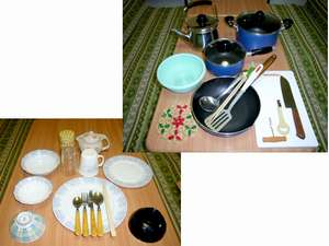 コンドミニアム フラットレット草津:食器や調理器具が一通り揃っているので便利