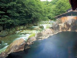 川俣 一柳閣:新緑の露天風呂