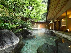 露天風呂「星の湯」。開放感が広がる豊かな緑の中、思う存分に温かい湯船に身を浸してください。