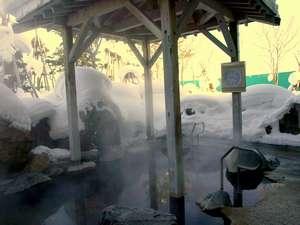 サンフラワーパークホテル 北竜温泉:湯けむり漂う雪見の露天風呂(掛け流し・加水なし・やや加温)