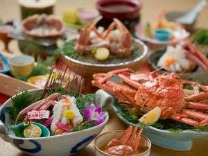 湯喜望 白扇:タグ付き生松葉蟹を2枚使用の最上級会席