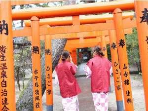 当館より徒歩3分の「皆生温泉神社」