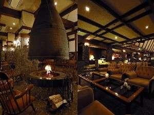 奥飛騨温泉 穂高荘 山のホテル:ファイアーラウンジとロビー