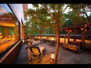 奥飛騨温泉 穂高荘 山のホテル:夕方のロビー外テラス