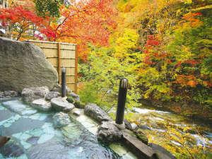 湯西川温泉 彩り湯かしき 花と華:絶景紅葉渓谷の露天風呂