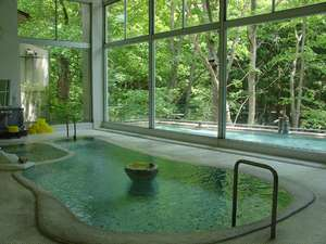 むささびの訪れる宿 つるや旅館:大浴場文殊湯、渓谷を望む景色、混浴の内湯と野天風呂