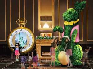 The Park Front Hotel at Universal Studios Japan TM:3/15~6/29 約4mのビッグな「イースター・バニー」がWELCOMEポーズでお出迎え♪