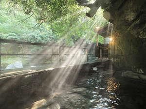 壁湯温泉 福元屋:名物壁湯に朝の光が。湯気が光に導かれて昇って行くよう