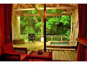 源泉かけ流し!お部屋に2つの露天風呂が付いたお部屋でございます。是非、天城の自然を感じて下さい