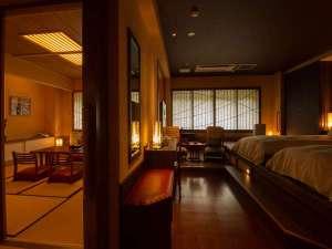 大丸温泉旅館:リニューアルしたお部屋 10畳和室+洋室ベット 檜風呂