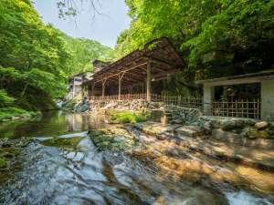 仙台・作並温泉 鷹泉閣岩松旅館:渓流沿いに佇む天然岩風呂