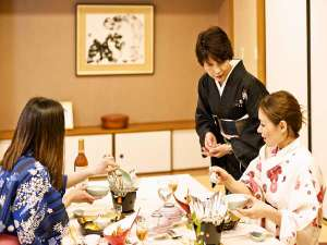 天然温泉 広島北ホテル:露天風呂付き客室お部屋食風景
