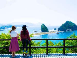絶景の宿 堂ヶ島ホテル天遊:当ホテルの遊歩道を下っていくと、美しい西伊豆の島々が一望!インスタ映えするスポット♪