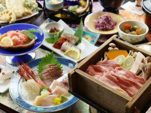 わんこと泊まる宿 上州苑:◆【ご夕食一例】越後もち豚の地酒蒸しと新鮮な海鮮料理