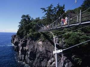 「城ケ崎海岸 海のつり橋」絶景です。・・・近くで仮面ライダーのロケ地にもなったとか・・・