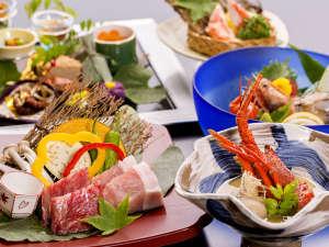 悠の湯 風の季:【特別室】露天風呂付 和風スイートのお料理イメージ。旬の魚介、お肉を使用した贅沢な会席に舌鼓。