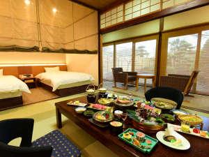 *客室一例/露天風呂付き客室ではお食事を「お部屋食」にてご用意いたします。