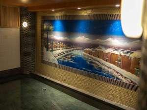 ホテル・トリフィート小樽運河(2018年4月20日オープン):小樽運河のペンキが描かれた大浴場【河の音】