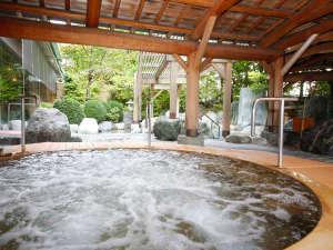 飛騨高山温泉 高山グリーンホテル:本陣大浴殿 檜露天風呂 スイッチを押してジャグジーを楽しんでね♪