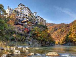 紅葉に彩られた渓谷を望む