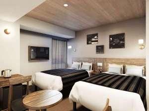 横浜国際ホテル(12/1~ホテル・ザ・ノットヨコハマにリブランド):【ワイドツインルーム】2017年3月6日リニューアルフロア・オープン!広さ19㎡ベッドサイズ 120cm