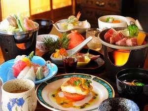 伝統の宿 旅館すがわら:選べる仙台牛の献立はもちろん、魚介類の蒸し物や旬の食材をふんだんに使う夕食(例)