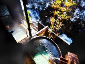 絶景露天風呂と貸切風呂が自慢の宿 東山温泉 庄助の宿 瀧の湯:会津銘酒「花春酒造」さんより譲り受けた酒の麹釜を使用した「庄助酒風呂(さけぶろ)」の眺望イメージ♪