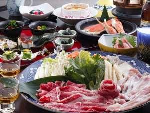 竹田町屋寺子屋はな亭:ビール付Wしゃぶx焼きガニ例:前菜、大鍋は、2人盛りです。
