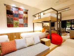 コンセプトルーム◆2段ベッドとゆったりソファ!修学旅行気分で楽しく会話が弾みます!